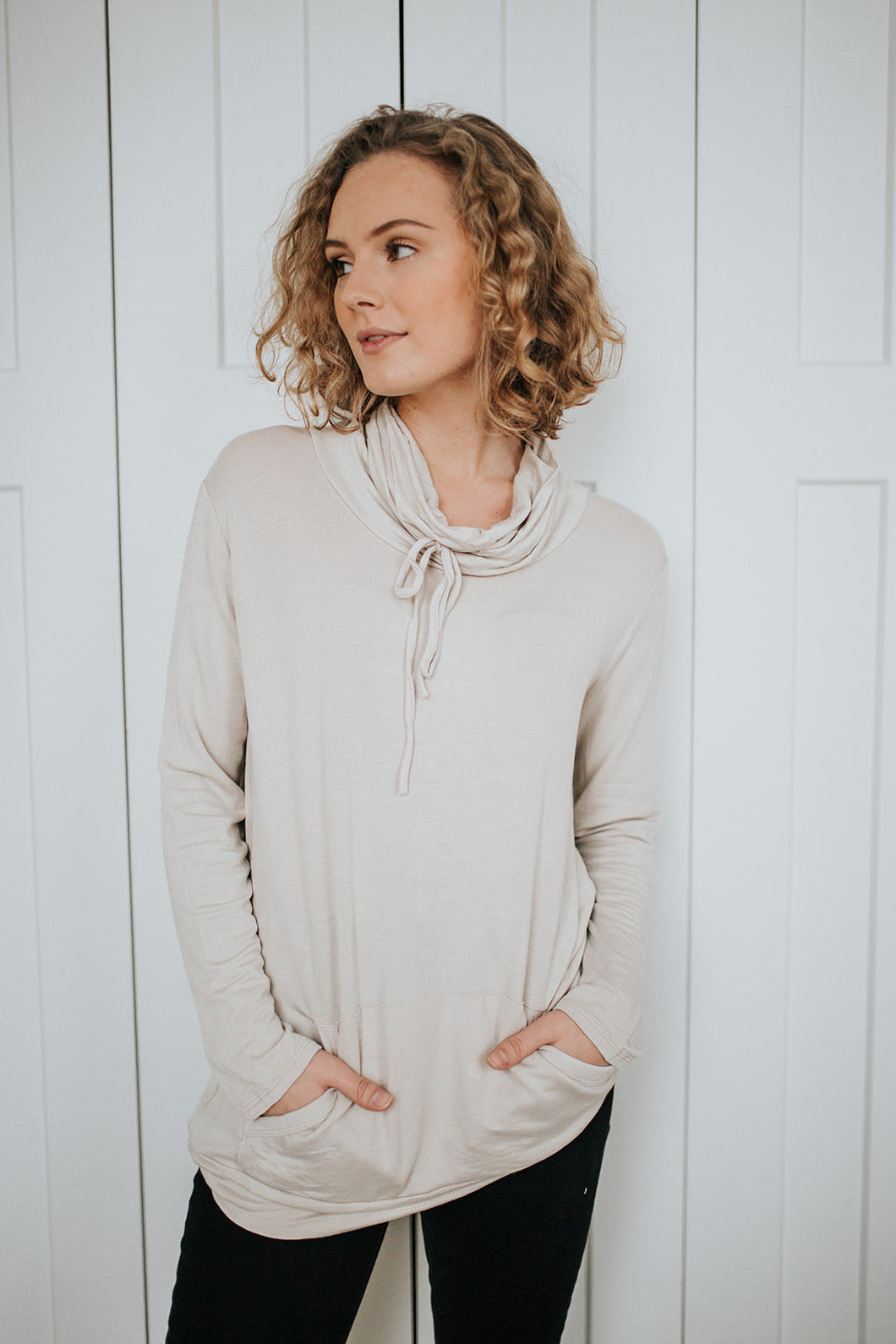 Our Everyday Cowled Neck Top in Oatmeal