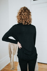 Our Everyday Cowled Neck Top in Black