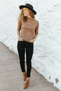 The Carter Mock Neck Top in Camel