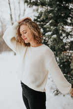 Quinn Puff Sleeve Knit Sweater in Ivory