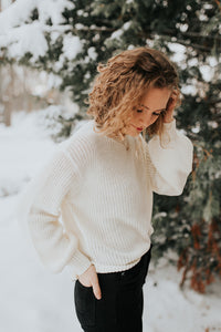 The Quinn Puff Sleeve Knit Sweater in Ivory
