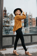 The Quinn Puff Sleeve Knit Sweater in Mustard