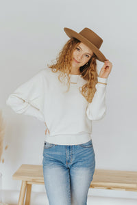 Lindsey Ribbed Pullover in Ivory