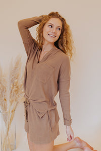 Atlas Soft Knit V-Neck in Taupe