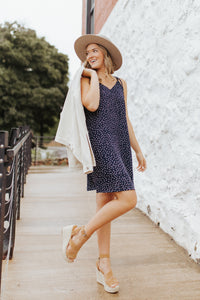 The Rory Dot Dress in Navy