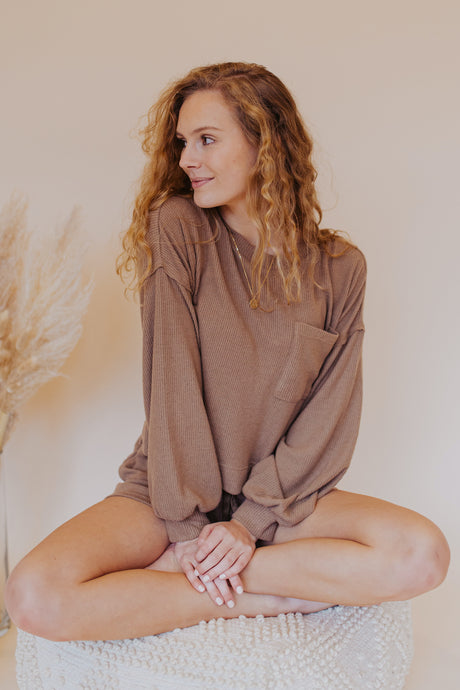 Atlas Soft Knit Pocket Top in Taupe