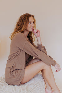 The Atlas Soft Knit Pocket Top in Taupe