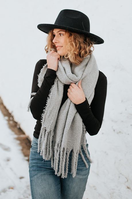 The Heather Blanket Scarf in Gray