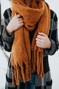 The Heather Blanket Scarf in Camel