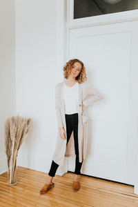 The Ellie Button Cardigan in Oatmeal