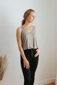 Our Everyday Basic V-Neck Tank in Olive