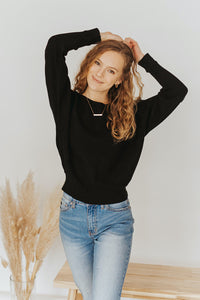 The Lindsey Ribbed Pullover in Black