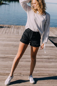 The Joline High-Rise Denim Shorts