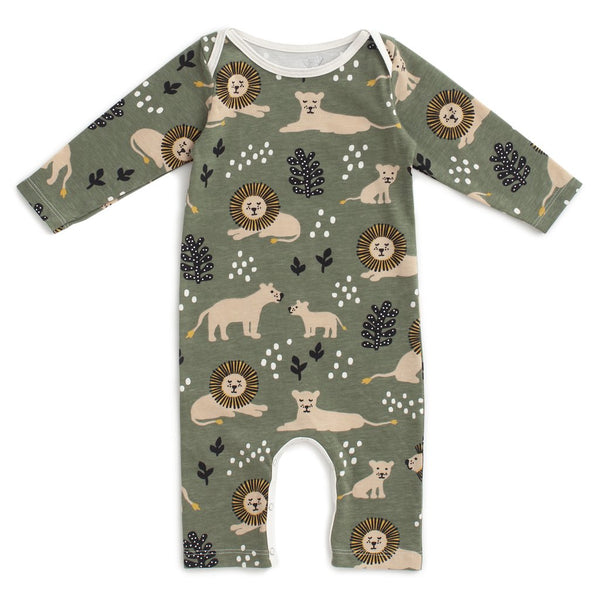 Winter Water Factory Long Sleeve Romper- Lions Forest Green