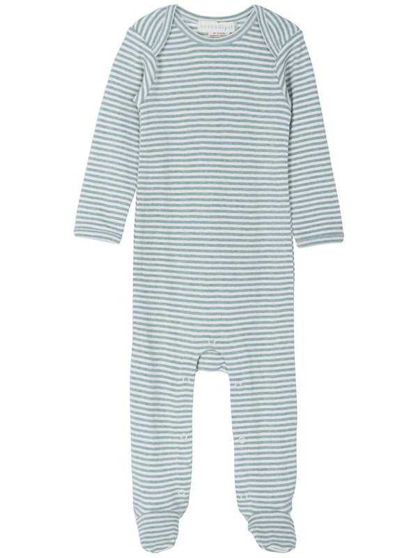 Baby Suit Stripe - Lake/Ecru