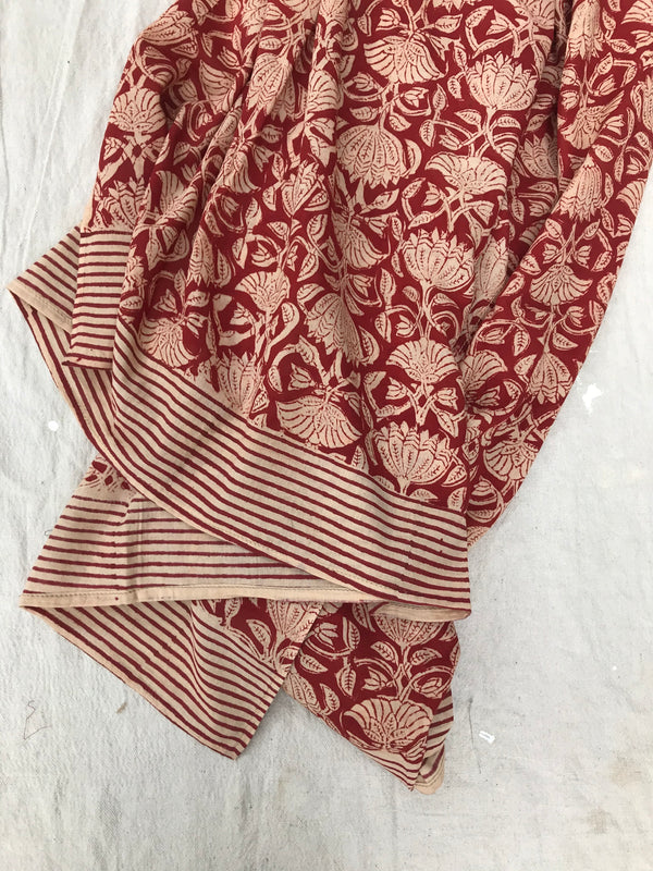 Block Print Shawl- Red Lotus