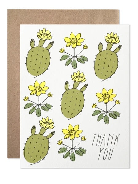 Yellow Cacti Thank You Card