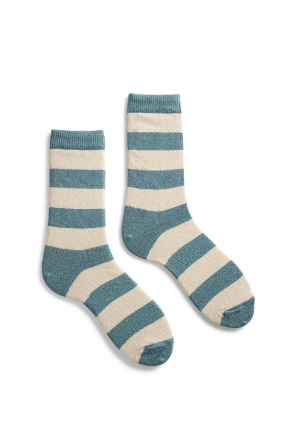 Lisa b. Rugby Stripe Wool Cashmere Crew Socks