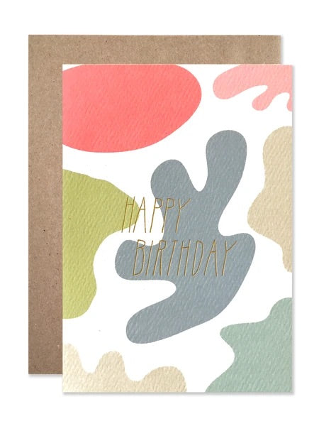 Happy Birthday Splashes with Gold Foil Card