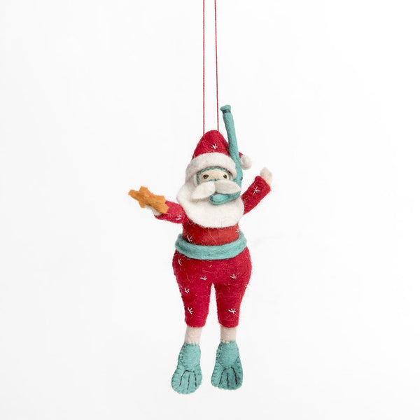 Craftspring Tropical Snorkel Scuba Santa Ornament