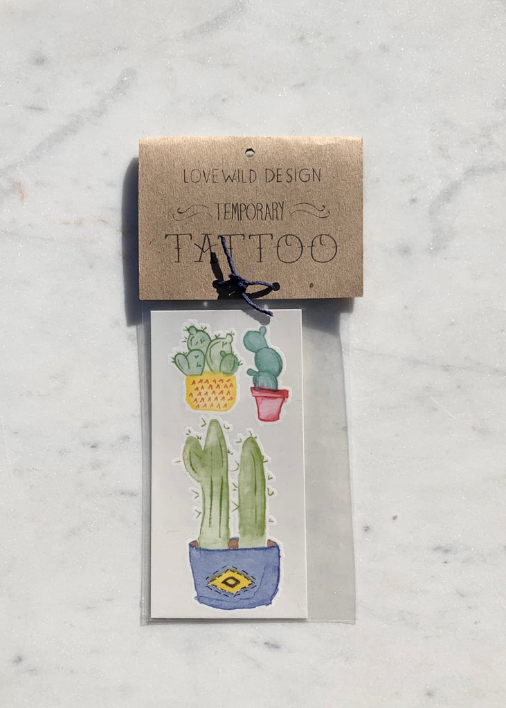 Lovewild Design Temporary Cactus Tattoo