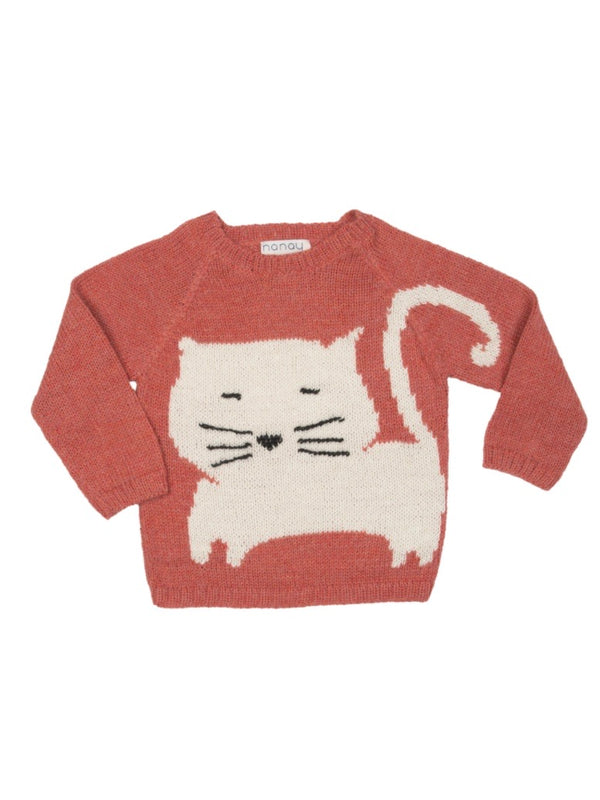 Nanay Kids Alpaca White Cat Sweater- multiple colors