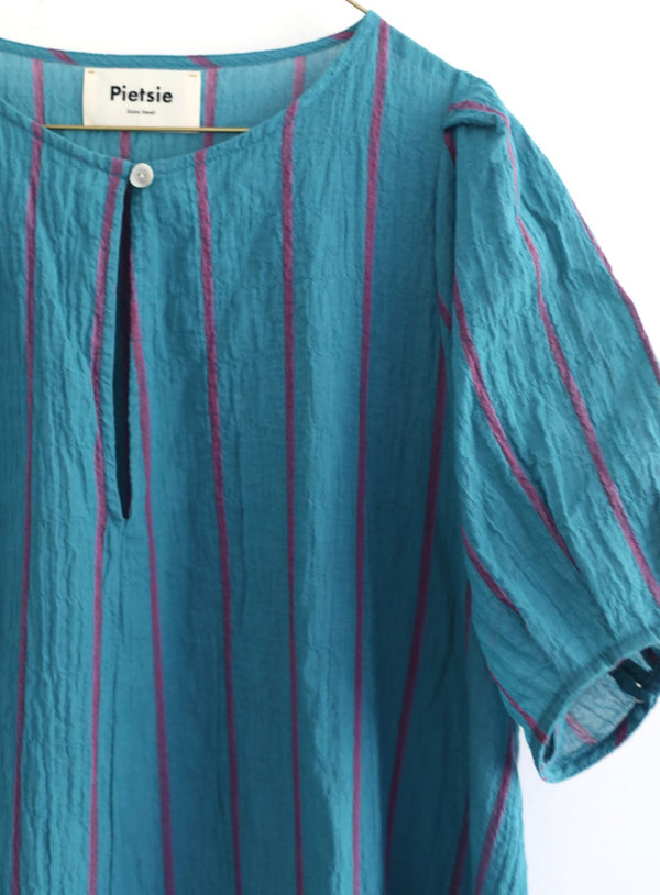 Springs Dress - Turquoise & Pink Shadow Stripe