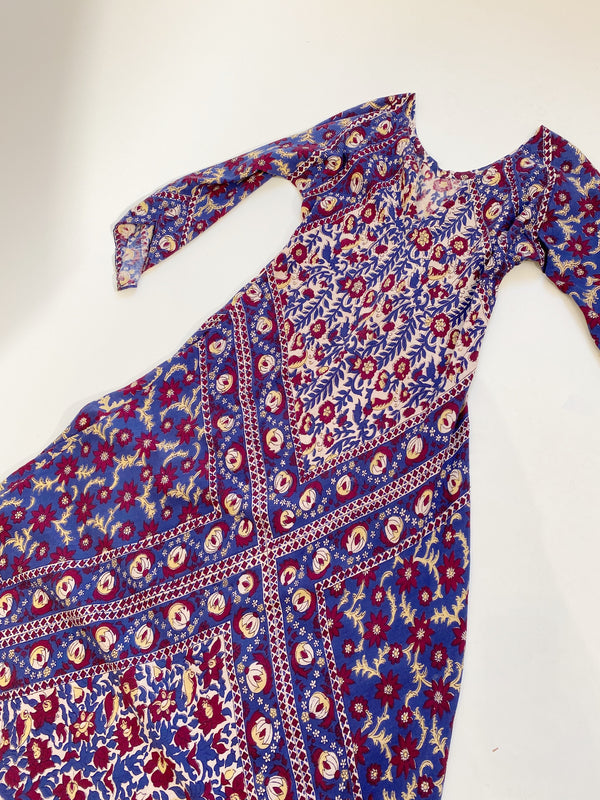 Vintage Indian Block-Print Maxi Dress