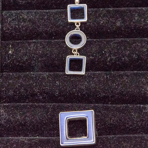 Dark Blue geometric Ring & Pendant Set