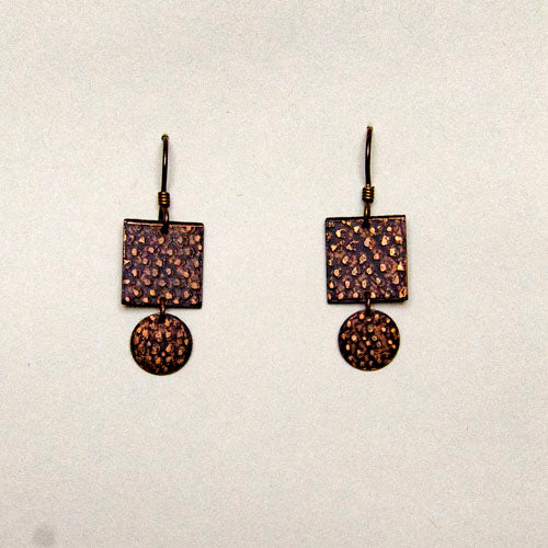 Earrings, hammered copper