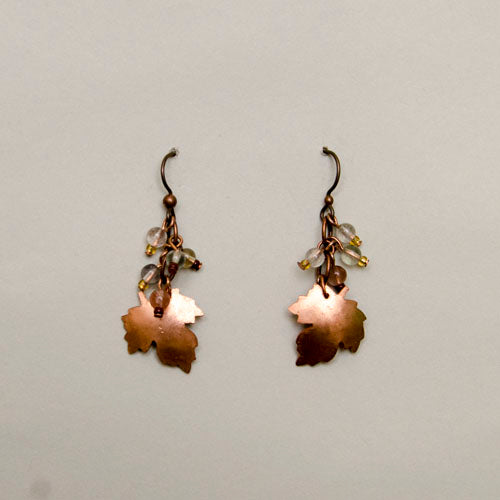 Earrings, Copper Maple leaves