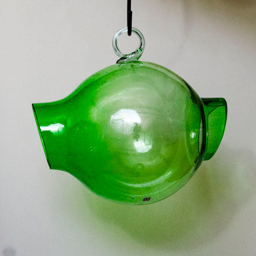 Bird feeder, hand-blown glass