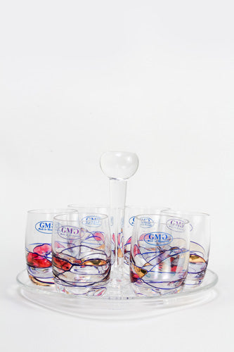 Crystal Shot glass set with tray,  Milano