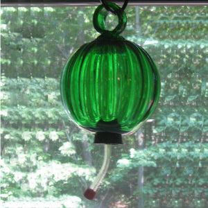 Humming bird feeder, hand-blown glass