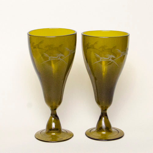 Goblets, recycled glass