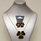 Pilgrim Black Shamrock Gold Pendant & Earring Set