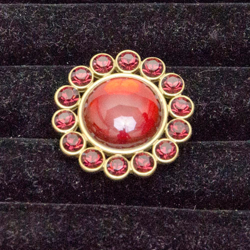 Pilgrim Gold Ring with Red Stones