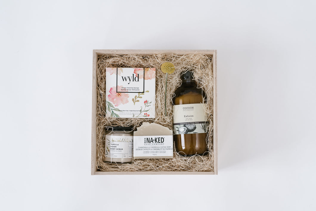 Gift Box with Buck Naked Soap,Cocoon Apothecary Bath Salts, Wyld Konjac Sponge and Om Organics Body Scrub
