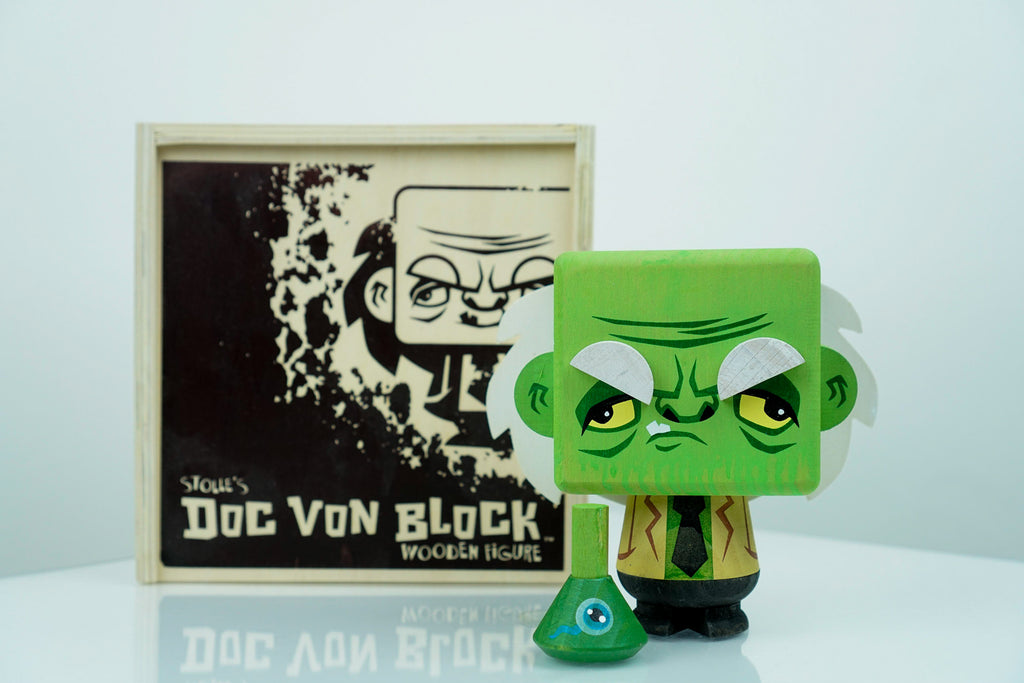 """Doc Von Block (Ill)"" Wooden Figure"" by Scott Tolleson x Stolle Art"