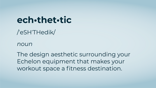 Echthetic- the design aesthetic surrounding your Echelon equipment that makes your workout space a fitness destintion.