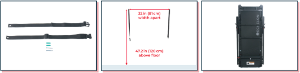 Image showing the two safety straps, location on the wall, and an Echelon Stride safely secured with the straps.