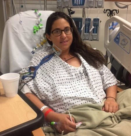 Echelon member Melissa S. as a young adult waiting for her second transplant