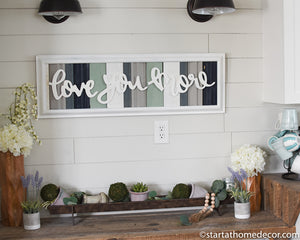 Long Reclaimed Wood Navy and Turquoise Love You More Sign