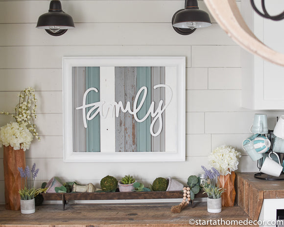 Reclaimed Wood Turquoise and Grey Family Sign