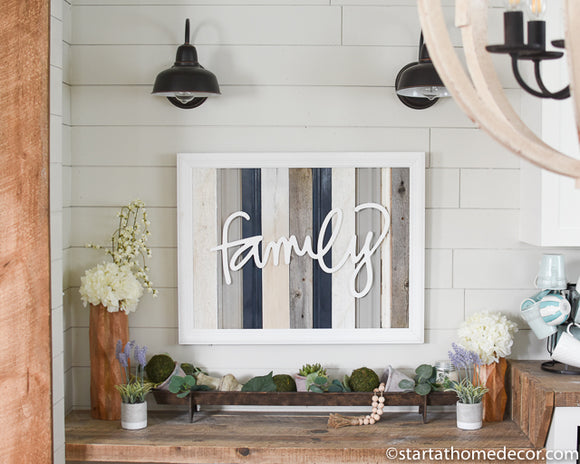 Large Reclaimed Wood Navy Family Sign