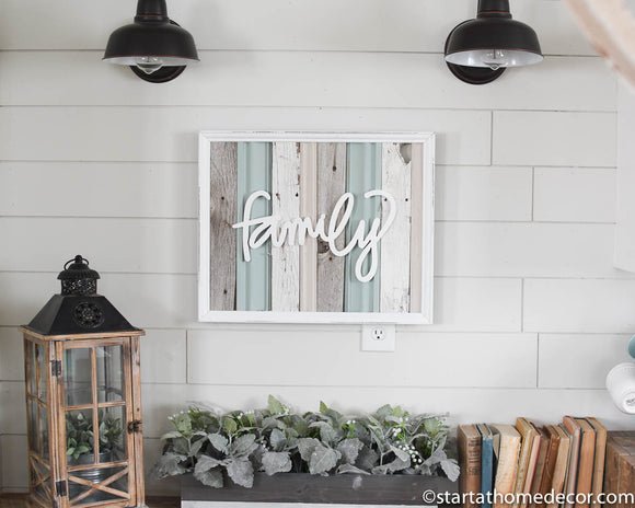 Reclaimed Wood Turquoise Family Sign