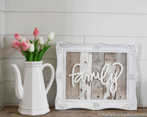Reclaimed Wood White and Grey Family Sign
