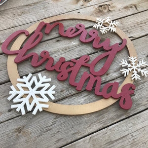 Handwritten Merry Christmas Door Hanger Wreath | Start at Home Decor | MDF Sign | Word Cutout