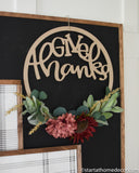 Give Thanks Hoop or Word Cutout | Typography sign | Start at Home | Door Hanger | Fall
