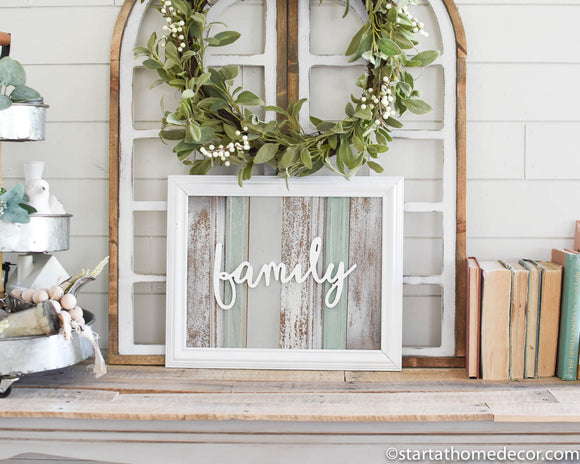 Reclaimed Wood turquoise Family Sign -May Restock